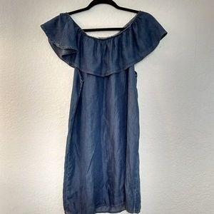 Glam 100%tencel tired ruffle off sleeve dress